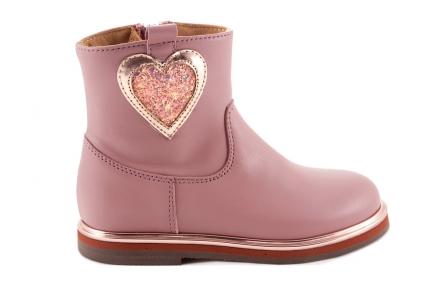 Laars Roze Leder Gouden Zool En Glitter Hart