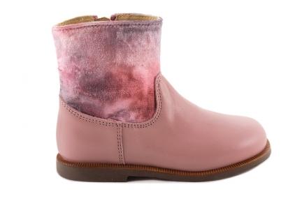 Laars Roze Leder Halfhoog Velours Schacht