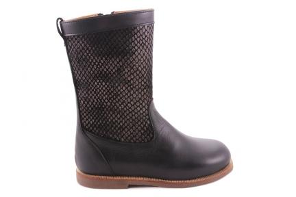 Laars Zwart Leder Zwarte Schubjes