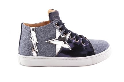 Sneaker Blauw Leder En Glitter Ster En Bliksem