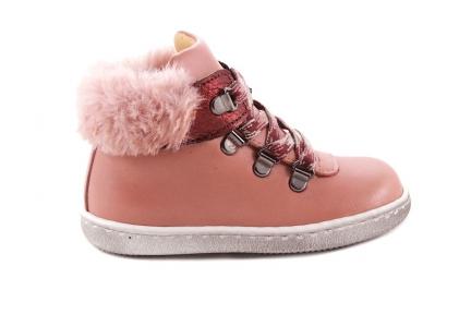 Sneaker Roze Leder Met Pelsje Veter Haakjes