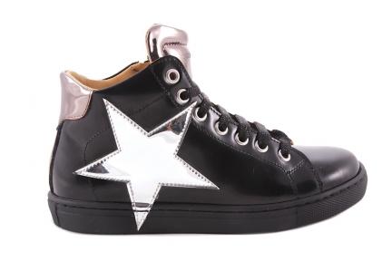 Sneaker Zwart Leder Zilveren Ster
