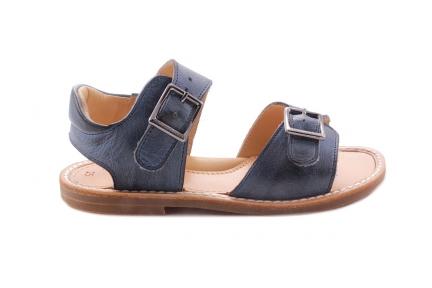 Sandaal 2 Gespen Blauw Waxed
