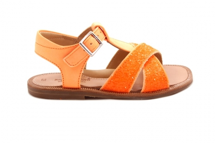Sandaal Open Hiel Glitter En Fluo Oranje