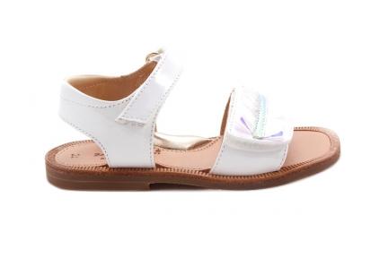 Sandaal Velcro Wit Plissé Vooraan