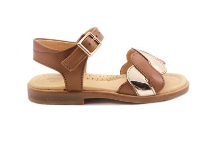 Sandaal Golfjes Vooraan Cognac Met Goud