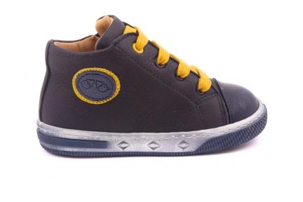 Sneaker Klein, Embleem Blauw/gele Rand, Gele Veter Blauw Leder