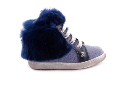 Sneaker Blauw Leder Met Glitter Pels