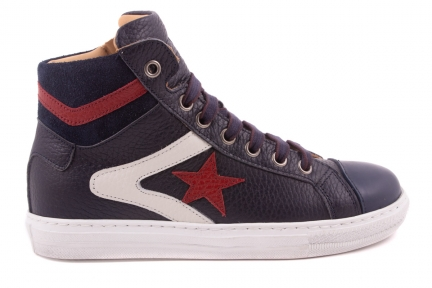 Sneaker Groot, Witte + Rode Strepen, Rode Ster  Blauw Leder