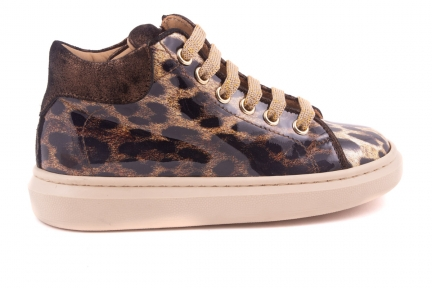 Sneaker Brons Leder Achter, Zool Vanille Leopard Lak Bruin