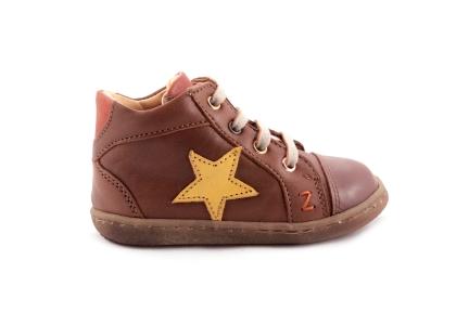 Sneaker Cognac Met Oker Ster