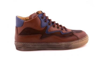 Sneaker Groot Cognac Leder Blauw Bliksem