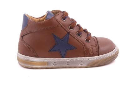 Sneaker Klein, Ster Blauw, Bruine Veter Cognac Leder