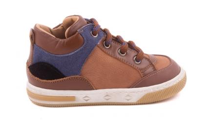 Sneaker Klein, Blauwe Accenten In Nubuck Cognac Leder