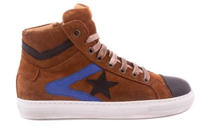 Sneaker Groot, Zwarte + Blauwe Strepen, Zwarte Ster  Cognac Crosta