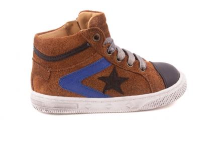 Sneaker Klein, Zwarte + Blauwe Strepen, Zwarte Ster  Cognac Crosta