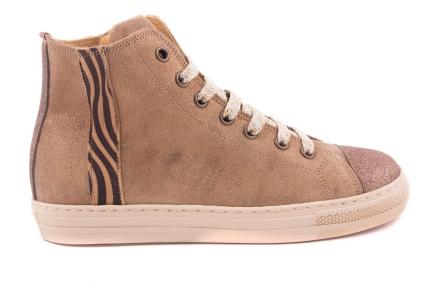 Sneaker Zebra Streep Zijkant, Hoog Model Cognac Goud Nubuck