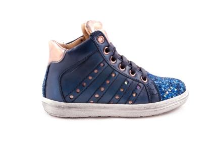 Sneaker Blauw Leder Glitter Tip