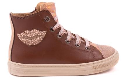 Sneaker Lip Roos Zijkant, Hoog Model Cognac Leder