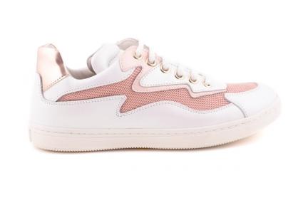 sneaker groot wit leder roze bliksem