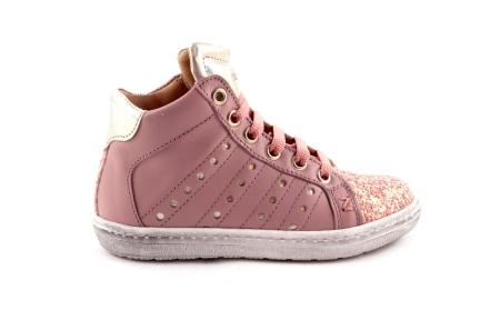 Sneaker Roze Leder Glitter Tip