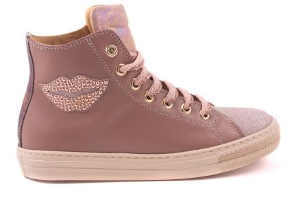Sneaker Oud Roze Leder, Lip Zijkant, Hoog Model