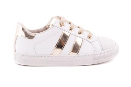 Sneaker 2 Strepen Goud Wit Met Rubber Tip