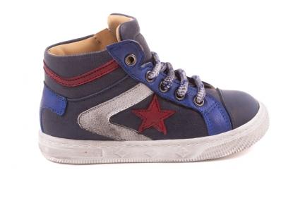Sneaker Klein, Witte +rode Strepen, Rode Ster Blauw Leder