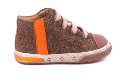 Sneaker Klein, Nubuck Print, Oranje Streep  Bruin Leder