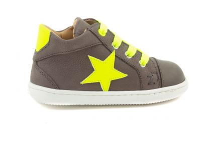 Sneaker Klein, Ster Fluo Geel, Fluogeel Veter Grijs/kaki Leder