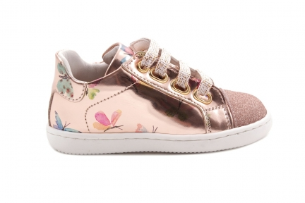 Sneaker Klein Glitter Tip Rose Metallic Met Vlinder