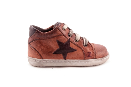 Sneaker Cognac Met Ster Donkerbruin Waxed