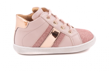 Sneaker Strepen Zijkant Glitter/spiegel, Voorkant Glitter  Oud Roze Leder