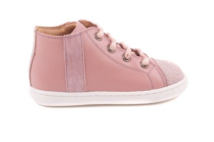 Sneaker Tip Glitter Roos, Streep Zijkant  Zebra Roze Glitter Roze Leder