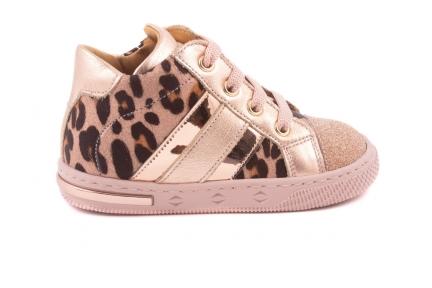 Sneaker Metallic Streepjes Zijkant Roze Leopard Nubuck