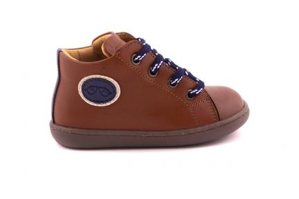 Sneaker Rubber Tip Cognac Met Blauw Embleem