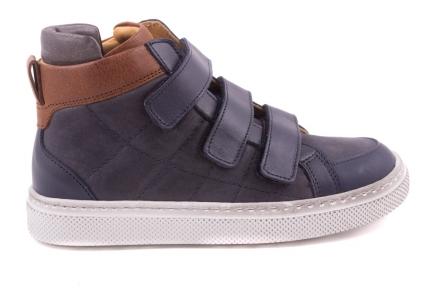 Sneaker Groot, Velcro, Geruit Gestikt, Bruin Bovenaan En Flap Blauw Leder