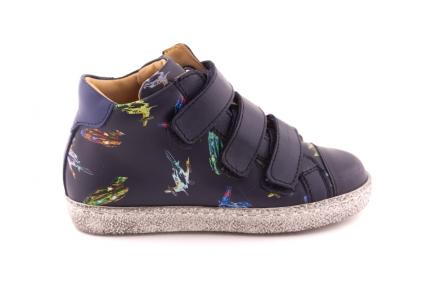 Sneaker Velcro Blauw leder En Rubber Tip Ufo print