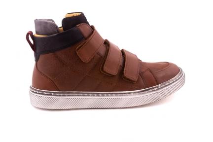 Sneaker Velcro Bruin Leder Hoog Met Zwarte Details