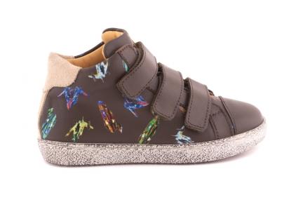 Sneaker Velcro Kaki leder En Rubber Tip Ufo print