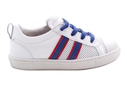 Sneaker Wit En Rubber Tip 2 Strepen Blauw En Rood