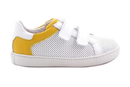 Sneaker Velcro Wit Gaatjes En Geel Accent
