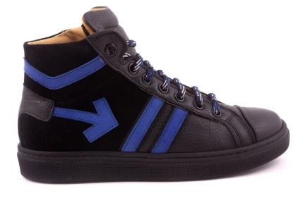 Sneaker Groot, Felblauwe Streepjes, Felblauwe Pijl Zwart Leder