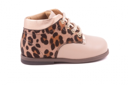 Veterschoen Roze Leopard Achter, Metallic Randje Roze Leder