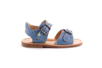 Sandaal 2 gespen lichtblauw vespa