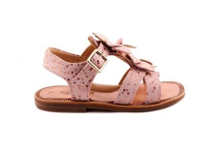 Sandaal Bloem Vooraan Glitter Roze Stipjes