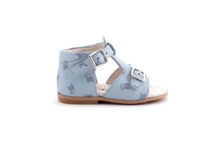 Sandaal lichtblauw met blauwe uiltjes