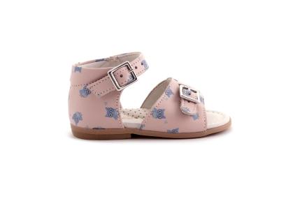 Sandaal blauwe uiltjes roze