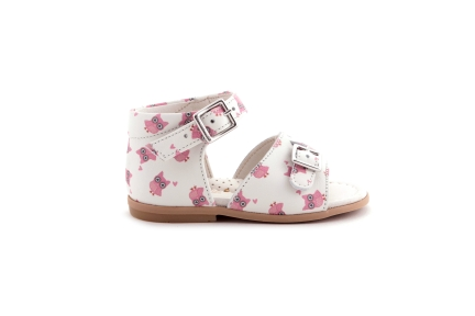 Sandaal wit met roze uiltjes