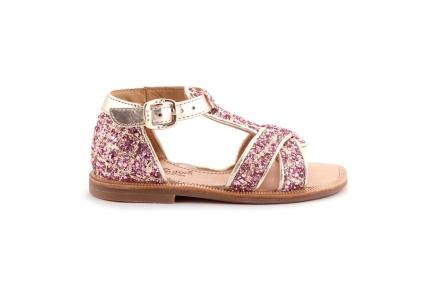 Sandaal gesloten hiel goud met glitter roze